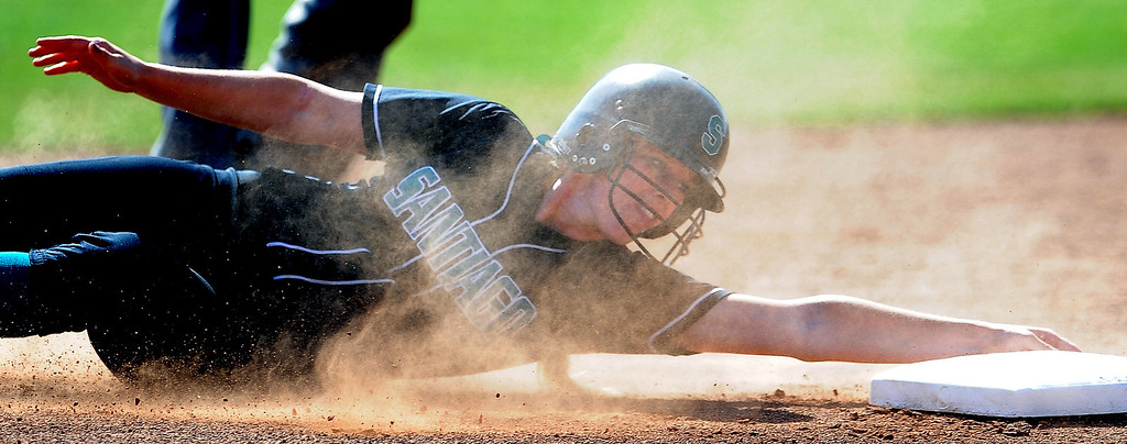 . Santiago\'s Kaylin Crumpton safe at second base for a RBI double in the third inning of a prep softball game against Bishop Amat at Bishop Amat High School on Wednesday, March 27, 2013 in La Puente, Calif. Bishop Amat won 5-3.  (Keith Birmingham Pasadena Star-News)