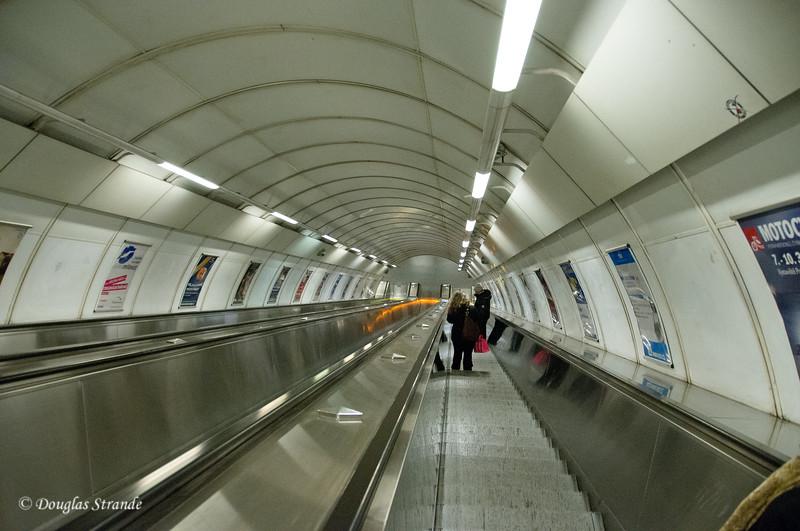 Escalator down into the Metro, Prague