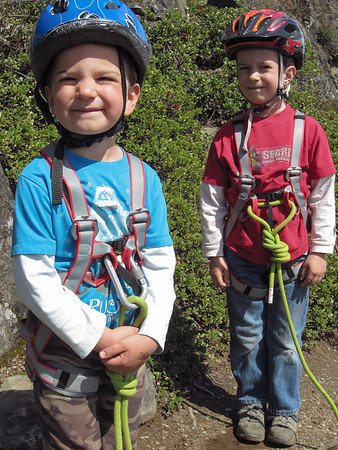 Eli and Ezra's first day of rock climbing