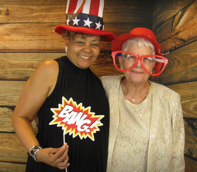 Photo Booth Fun with Linda Covington and Dottie -- long time friend of Fran and John -- 7/7/17