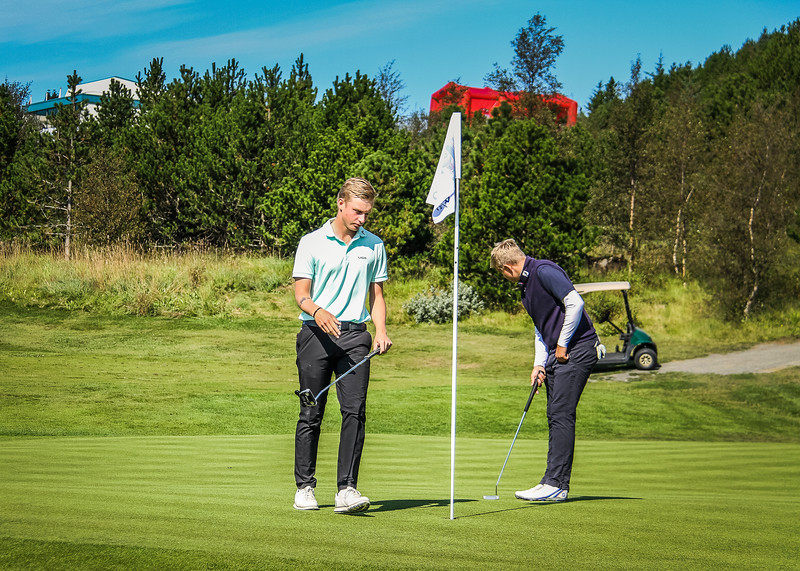 Daníel Ísak Steinarsson, Viktor Ingi Einarsson.  Íslandsmót golf 2019 Grafarholt - 1. keppnisdagur. Mynd: seth@golf.is
