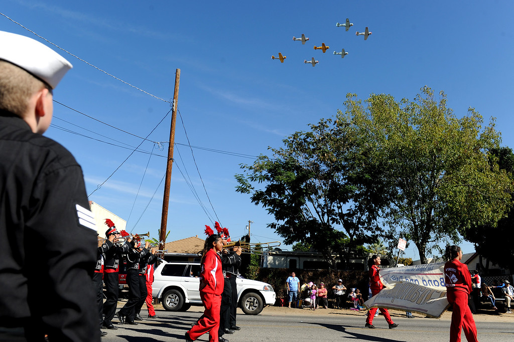 . The Condor Squadron flies over the San Fernando Valley Veterans Day Parade in Pacoima, Monday, November 11, 2013. (Photo by Michael Owen Baker/L.A. Daily News)
