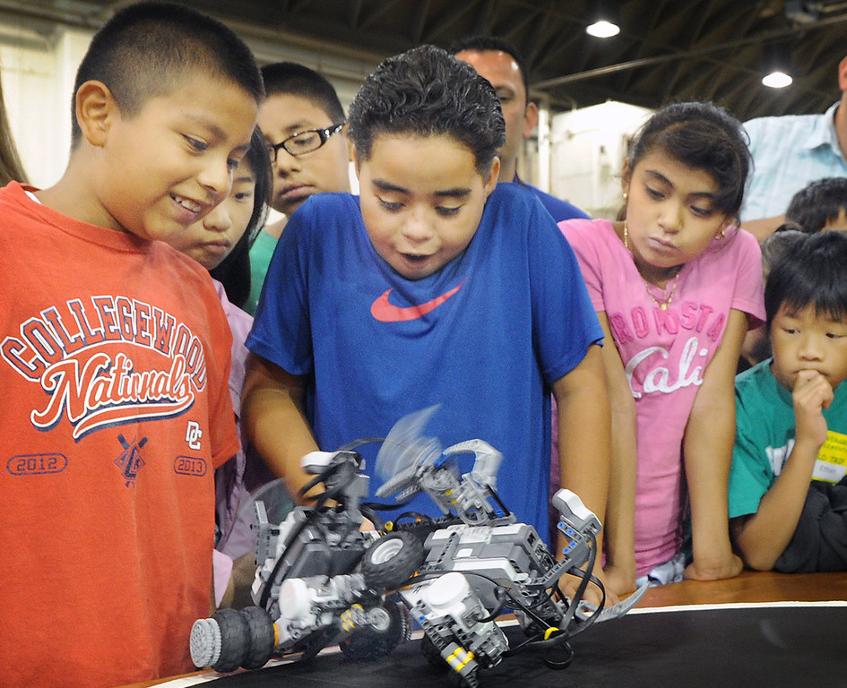 . Cal Poly Pomona\'s Robotics Initiative invited 200 elementary and middle school students to a Robot Expo at LA Fairplex in Pomona Monday, May 20, 2013. (SGVN/Photo by Walt Mancini)
