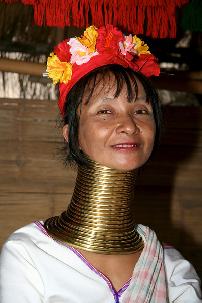 Day trip to Chiang Rai and Golden Triangle Long Neck woman from Burma living in nothern Thailand  Visiting the long neck hill tribe