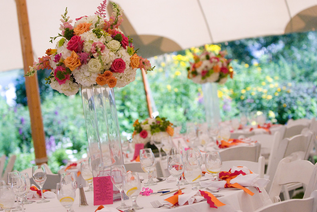 Colorful flower arrangement at a Cape Cod wedding. Photo by Amy Riley - Home - The Casual Gourmet, Cape Cod Wedding Caterer