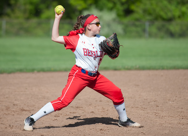 05/14/18 Wesley Bunnell | Staff Berlin softball vs Platt Tech on Monday afternoon at Sage Park. Jenna Zup (2) with a play at short stop.