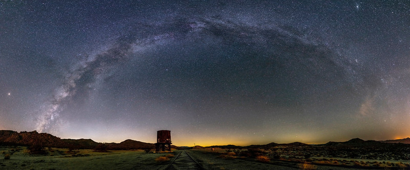 Milky Way Over Dos Cabezas Siding in Anza-Borrego Desert State Park Panorama