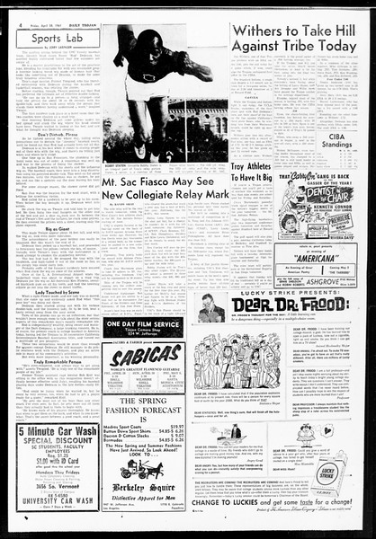 Daily Trojan, Vol. 52, No. 115, April 28, 1961