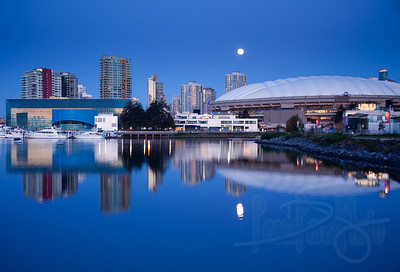 BC Place Stadium and Maritime Museum from False Creek. Vancouver, BC.