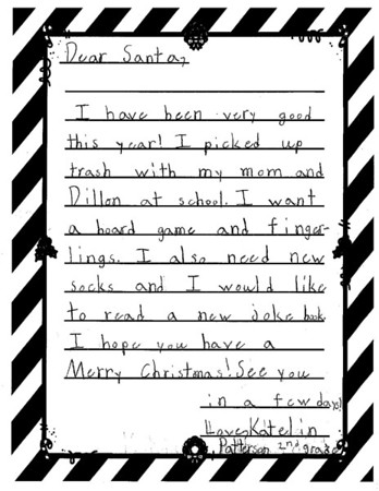 Mrs. Tolbert's second grade Letters to Santa, 12/12/2018