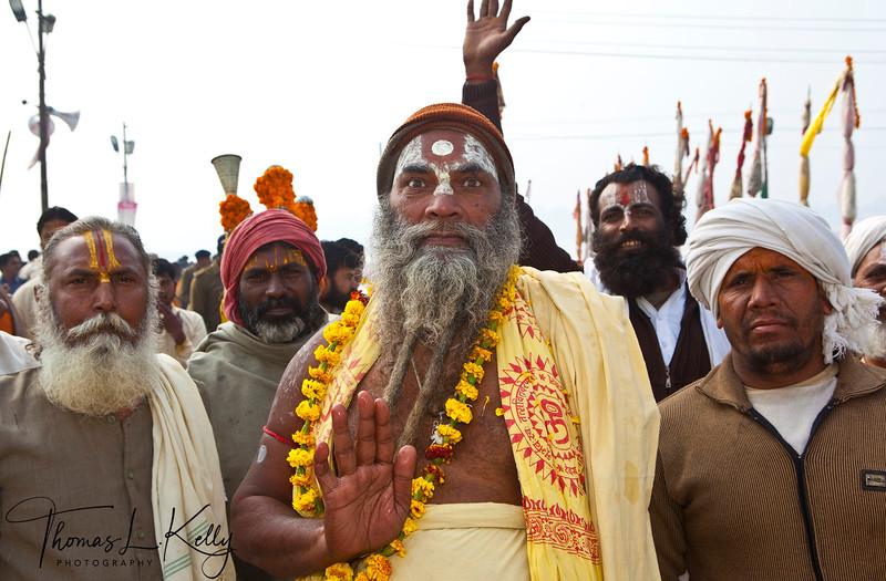 Parade. Vaisnava, the follower of Lord Vishnu parade through Mela grounds singing Bhajan (devotional song) to their destination akhara. during Kumbha Mela in Allahabad. India.