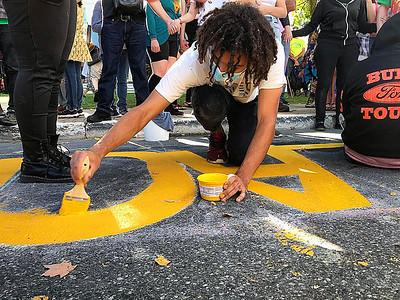 Black Lives Matter mural painting in Bennington -083020