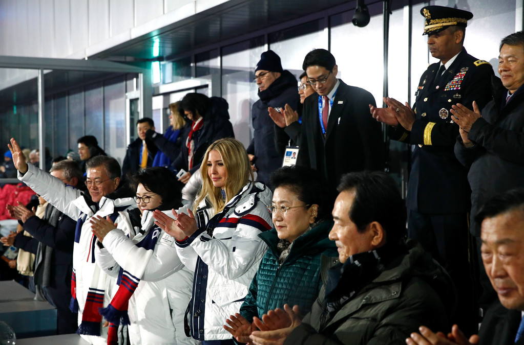 . Ivanka Trump, third from left, daughter of U.S. President Donald Trump, applauds as athletes from North and South Korea walk together during the closing ceremony of the 2018 Winter Olympics in Pyeongchang, South Korea, Sunday, Feb. 25, 2018. Standing alongside Trump are South Korean President Moon Jae-in, from left, first lady Kim Jung-sook and Chinese Vice Premier Liu Yandong. (AP Photo/Patrick Semansky, Pool)