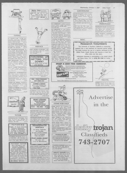Daily Trojan, Vol. 105, No. 24, October 07, 1987