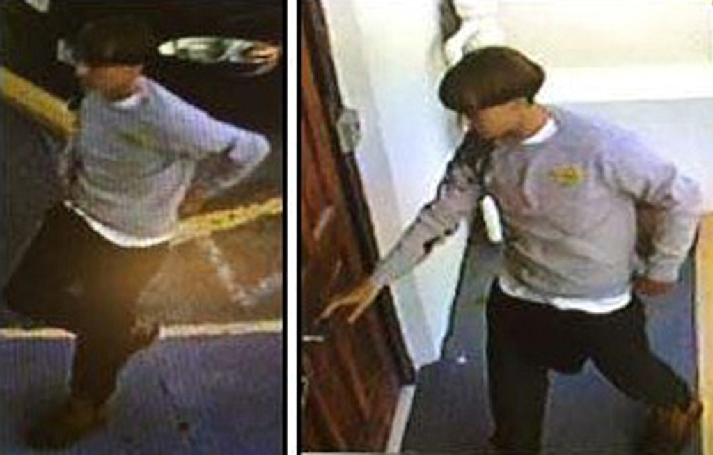. This security camera footage handout grab released by the Charleston (South Carolina) Police Department on June 18, 2015 and obtained on the city of Charleston FaceBook page shows the man suspected of killing nine people in a shooting at a historic black church. The footage shows a slender young white man with dark blond or brown hair in a distinctive bowl-type haircut, and wearing a grey sweater. Police said he is about 5 foot, 9 inches tall and is in his early 20s. The suspect was seen leaving the church in a black sedan, police said. The gunman was on the run on June 18 after fatally shooting at least nine worshippers, including the pastor, in a predominantly black church in downtown Charleston, in what police called a hate crime.    AFP PHOTO / CHARLESTON POLICE DERPARTMENT/AFP/Getty Images