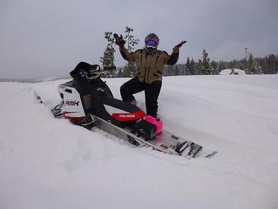 Cathy sledding 2012