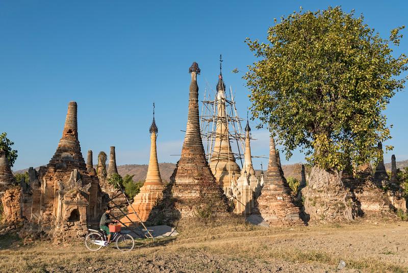 Ancient temples (stupas) of Sankar near Inle Lake, Burma (Myanmar)
