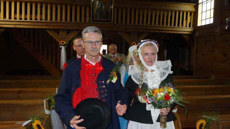 Jim and Kathy enter St. Katarzyna Catholic Church in Węglewo, Poland