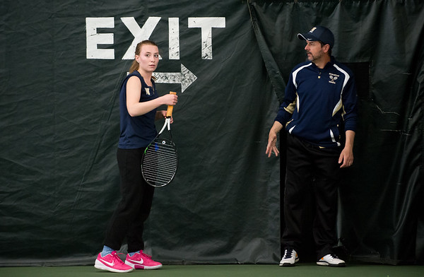 04/26/19 Wesley Bunnell | Staff Newington girls tennis vs Maloney on Friday afternoon at the Newington Tennis Center. Mara Klin speaks to coach Sean Hussey between sets in her #3 match.