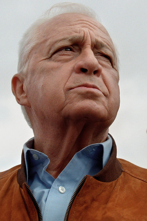 . Israeli right-wing opposition leader Ariel Sharon visits the Dead Sea beach of Kalya during a tour in Jordan Valley 03 January 2001.   AFP PHOTO/PHILIPPE  DESMAZES/AFP/Getty Images