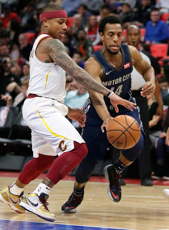 . Detroit Pistons guard Ish Smith (14) drives to the basket against Cleveland Cavaliers guard Isaiah Thomas (3) during the first half of an NBA basketball game Tuesday, Jan. 30, 2018, in Detroit. (AP Photo/Duane Burleson)
