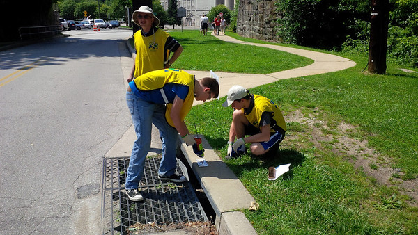 2013 Storm Drain Stenciling Project with Eagle Scout Candidate Jacob Peterson in Oella