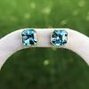 8.41ctw Blue Zircon Asscher Cut Bezel Earrings 17