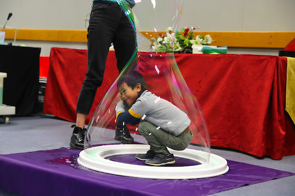 FREE TO USE IMAGE. Pictured during Science Week with WIT (Waterford Institute of Technology) by Calmast. Pictured during the Bubble show with the London Science Museum at WIT. Pictured is Ludy Raftice from Danesfort in Kilkenny. Picture: Patrick Browne