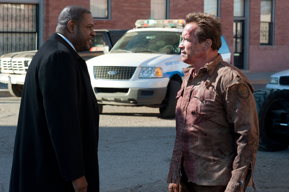 Description of . This film image released by Lionsgate shows Forest Whitaker, left, and Arnold Schwarzenegger in a scene from,