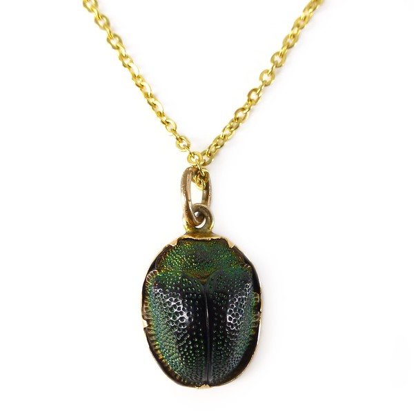 Antique Edwardian Gold Tortoise Scarab Beetle Pendant Necklace