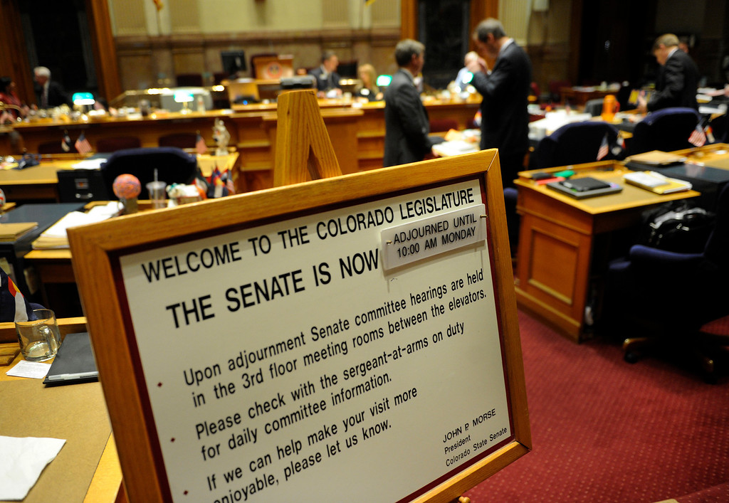. DENVER, CO. - MARCH 8: After lengthy debate on gun control measures, the Colorado Senate adjourned for the weekend late Friday night, March 8, 2013. (Photo By Karl Gehring/The Denver Post)