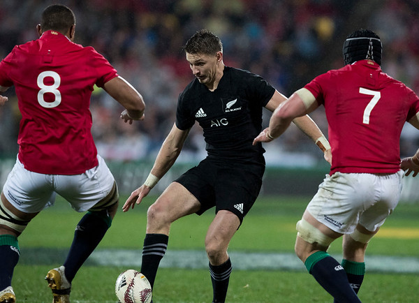 Beauden Barrett  during game 9 of the British and Irish Lions 2017 Tour of New Zealand, the second Test match between  The All Blacks and British and Irish Lions, Westpac Stadium, Wellington, Saturday 1st July 2017 (Photo by Kevin Booth Steve Haag Sports)  Images for social media must have consent from Steve Haag