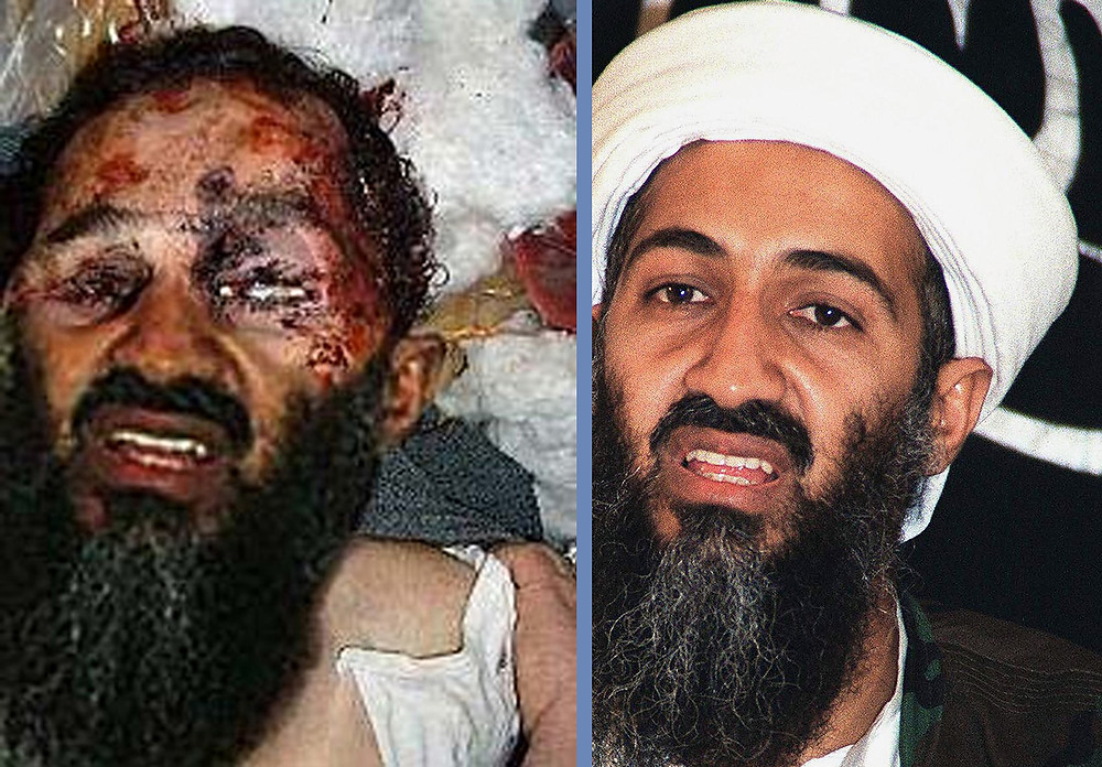 . This combination of two images shows a widely distributed image (L) on the Internet on May 2, 2011 of what Pakistani television described as an unconfirmed image of Osama bin Laden\'s bloodied face after the United States said he had been killed, and one (at R) which is a horizontally inverted undated archive picture of the Al-Qaida leader. This combination of images clearly show that the beard and the lower part of the image was most probably cloned and pasted on the image of a body that doesn\'t belong to bin Laden, making the picture on the left a fake. Bin Laden was killed in a highly sensitive intelligence operation in the suburbs of Abbottabad, 50 kms (30 miles) northwest of the Pakistani capital Islamabad, it was announced on May 2, 2011.  HO/AFP/Getty Images
