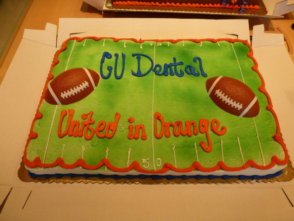 . Pregame cake at the Dental School, and yes there is sugar in this cake. But we brushed and flossed afterward. :)