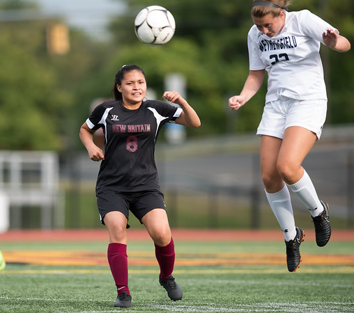 09/11/18 Wesley Bunnell | Staff New Britain girls soccer was defeated by Wethersfield 8-0 on Tuesday afternoon at Veterans Stadium. Melany Bastidas (8).