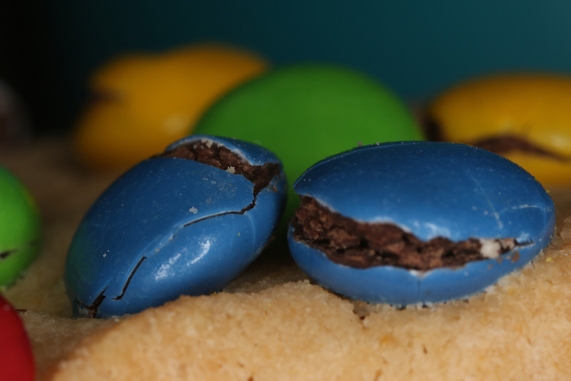 Up close and personal on one of those M&M cookies.