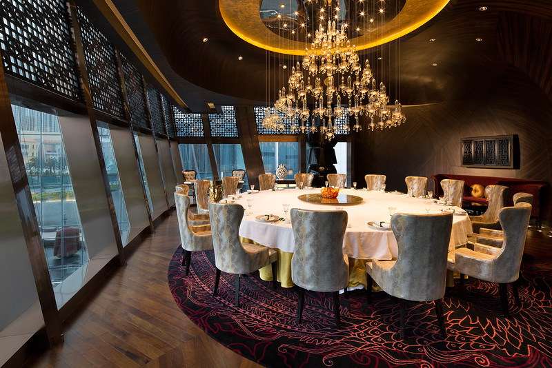 Private dining room at the Jade Dragon restaurant in the City of Dreams casino resort in Macau, China.