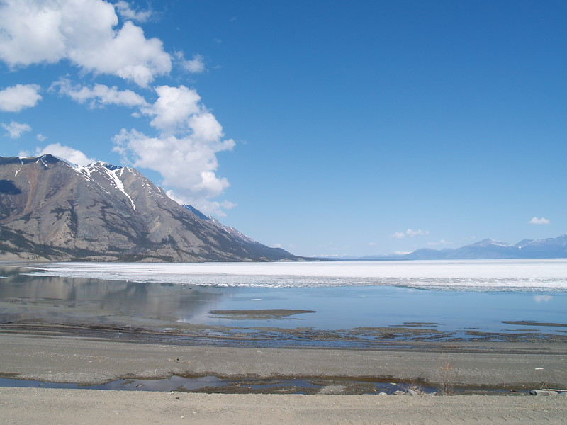 This is Kluane Lake, outside of Haines Junction, Yukon Territory (YT). That is ice still covering the lake. We were driving slowly through dirt and gravel in a construction zone. Road construction takes on a whole new name on the Al-Can!