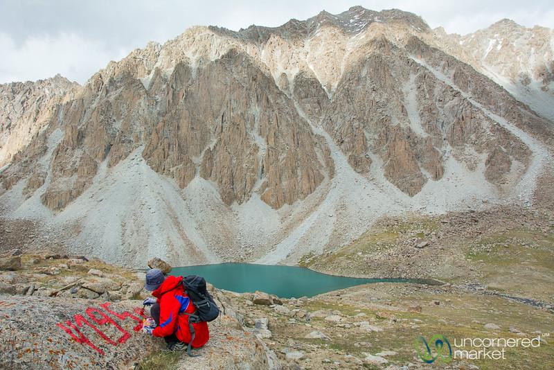 At Highest Point of Koshkol Lakes Trek - Alay Mountains, Kyrgyzstan