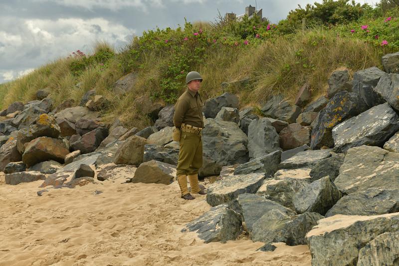 Reenactor on Omaha Beach