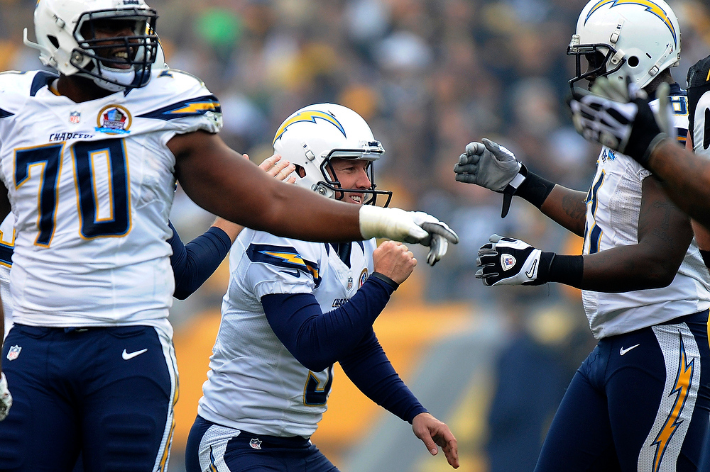 Description of . San Diego Chargers kicker Nick Novak (9) celebrates making a field goal in the first quarter of an NFL football game against the Pittsburgh Steelers on Sunday, Dec. 9, 2012, in Pittsburgh. (AP Photo/Don Wright)