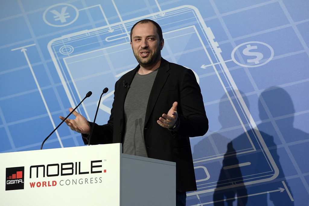 . Co-founder and CEO of Whatsapp Jan Koum speaks during a press conference during the 2014 Mobile World Congress in Barcelona on February 24, 2014 The Mobile World Congress runs from the 24 to 27 February where participants and visitors alike can attend conferences, network, discover cutting-edge products and technologies at among the 1,700 exhibitors as well as seek industry opportunities and make deals.   LLUIS GENE/AFP/Getty Images