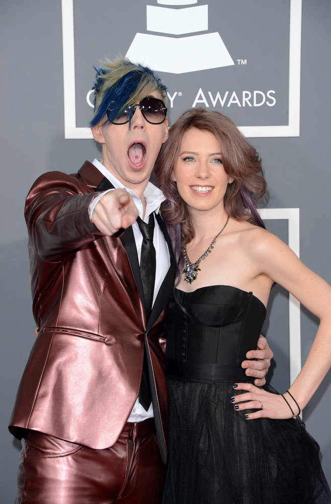 . Musician Josh Ramsay (L) and Amanda McEwan arrive at the 55th Annual GRAMMY Awards at Staples Center on February 10, 2013 in Los Angeles, California.  (Photo by Jason Merritt/Getty Images)