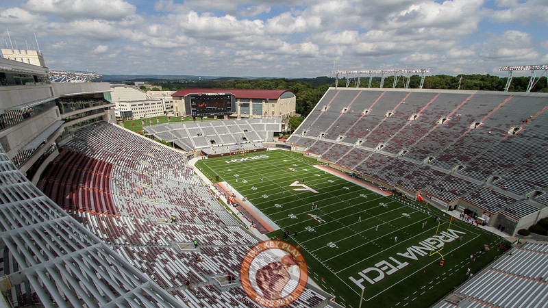 Lane Stadium sits empty as fans tailgate outside for the 3:30 kickoff. (Mark Umansky/TheKeyPlay.com)