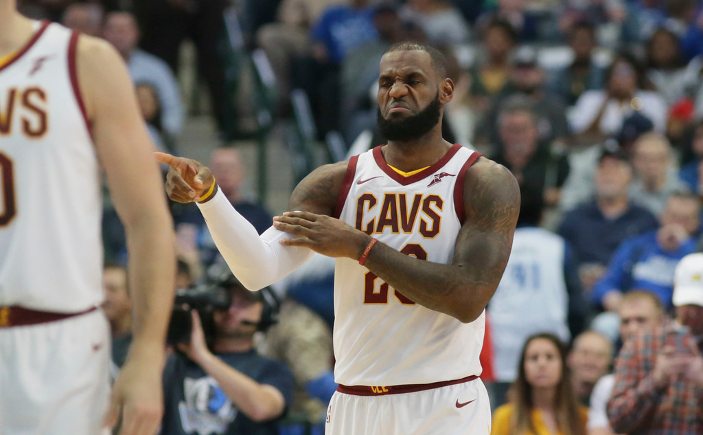 . Cleveland Cavaliers forward LeBron James (23) during the first half of an NBA basketball game against the Dallas Mavericks in Dallas, Saturday, Nov. 11, 2017. (AP Photo/LM Otero)