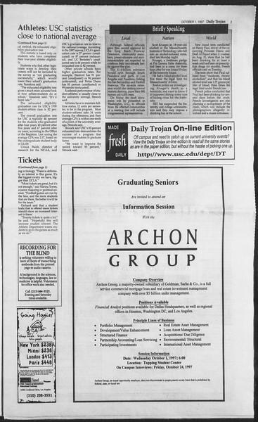 Daily Trojan, Vol. 132, No. 23, October 01, 1997