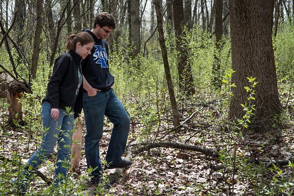 2013_04_21 mushroom hunting, sarah, charlie