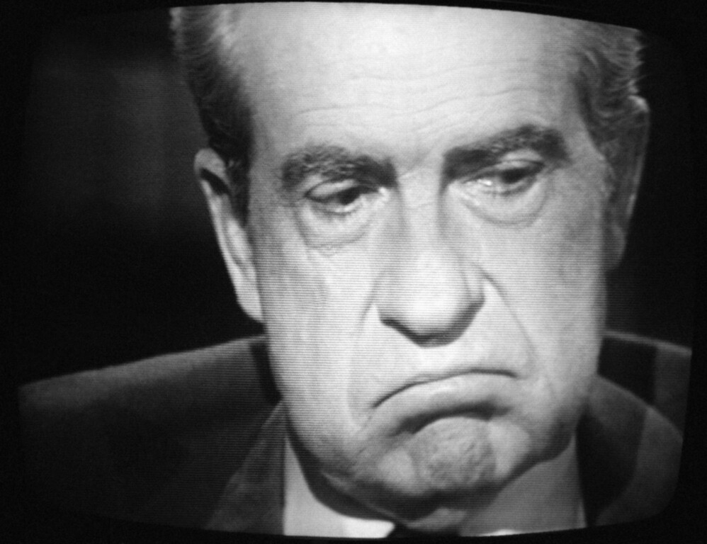 ". Former President Richard M. Nixon, exhibited this expression, Wednesday, May 4, 1977 of paid-for interview  with  David Frost. Nixon conceded that he let his friends, the nation, and our ""Systems of government\"" Down, but emphasized that he had not committed an impeachable offenses in his own view, in the Watergate coverup. (AP Photo/WNEW TV/Ray Stubblebine)"
