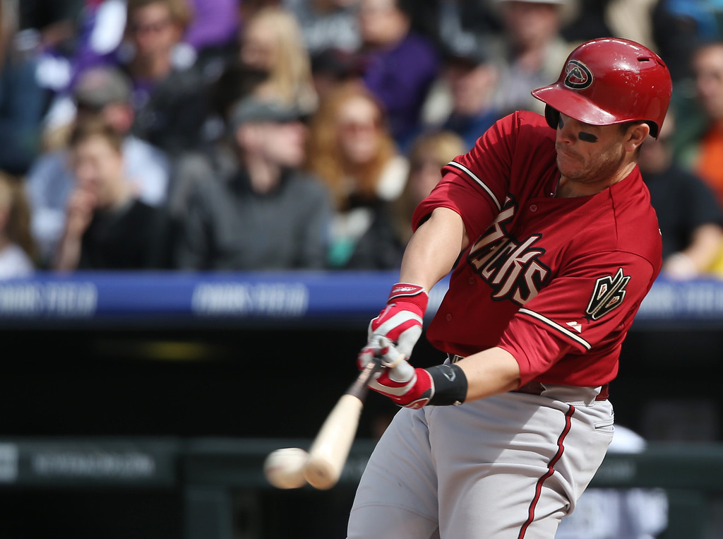 . Arizona Diamondbacks\' Miguel Montero grounds out against the Colorado Rockies in the fifth inning of an MLB National League baseball game in Denver on Sunday, April 6, 2014. (AP Photo/David Zalubowski)