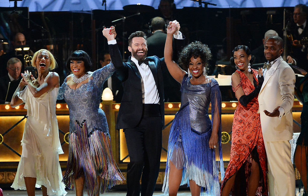 . Host Hugh Jackman and the cast of \'After Midnight\' perform onstage during the 68th Annual Tony Awards at Radio City Music Hall on June 8, 2014 in New York City.  (Photo by Theo Wargo/Getty Images for Tony Awards Productions)